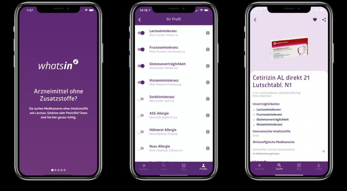 Funktionen der Patienten-App whatsin