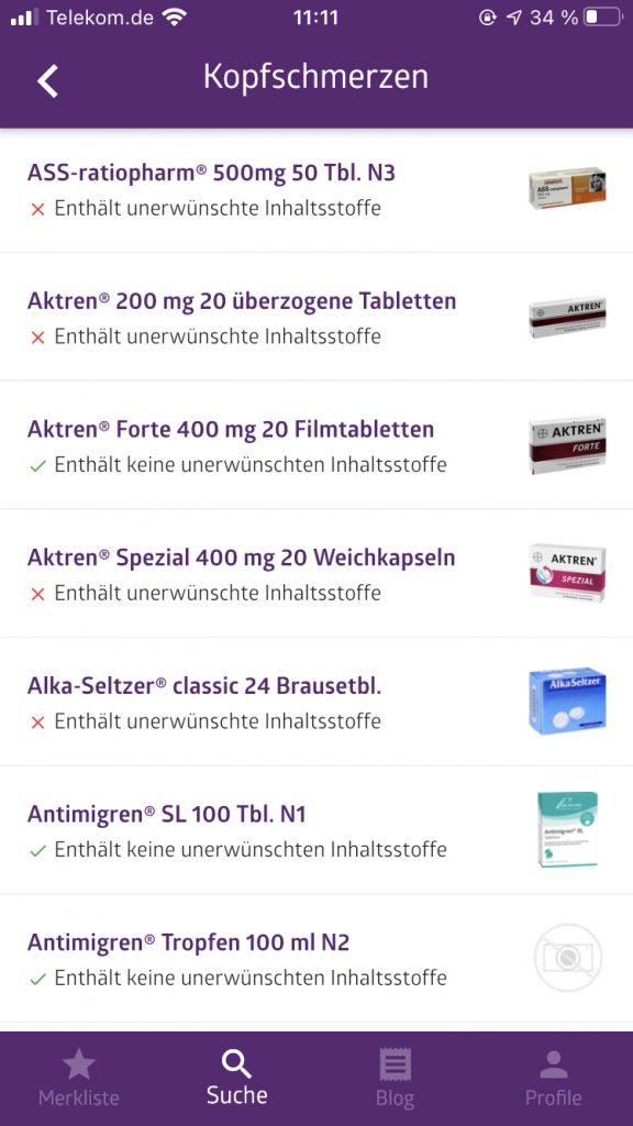 Liste Histamin Schmerzmittel in der App